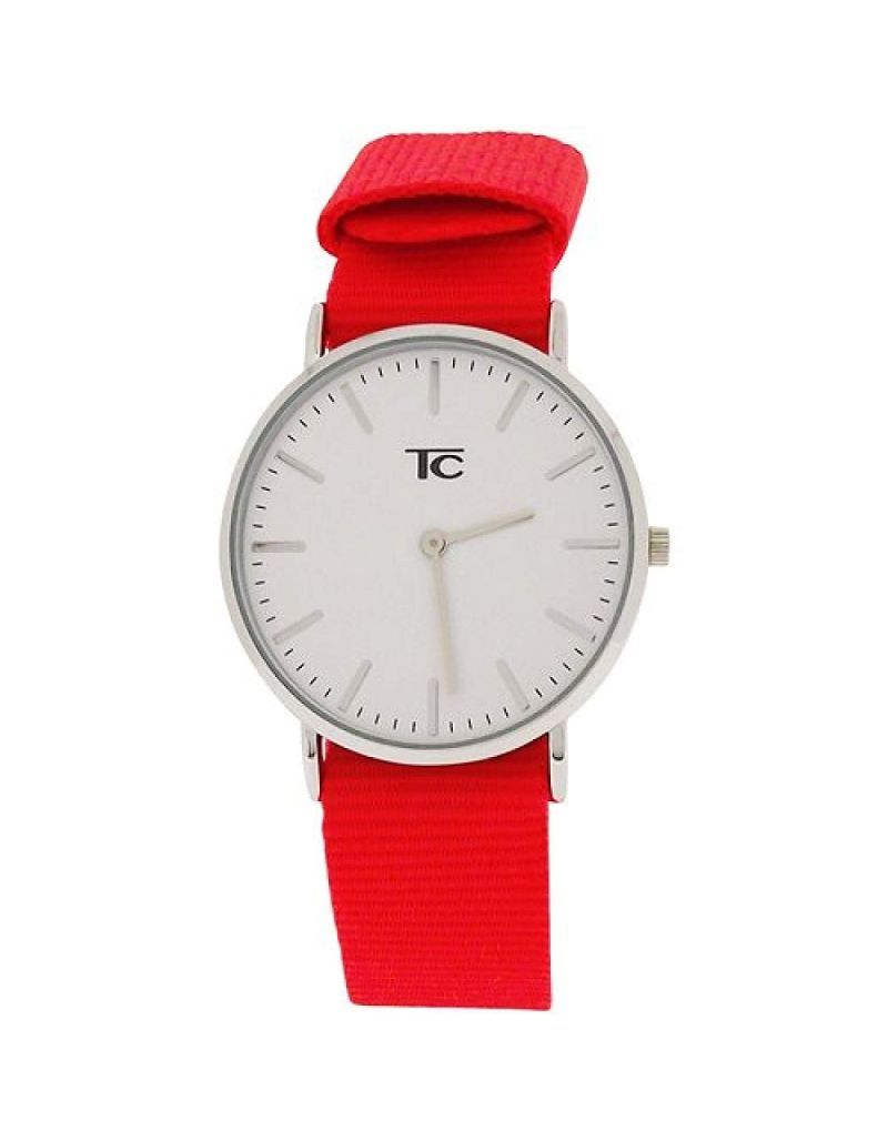 Tom Carter Unisex White Dial Stainless Steel Case & Buckle Red Nylon Strap Watch