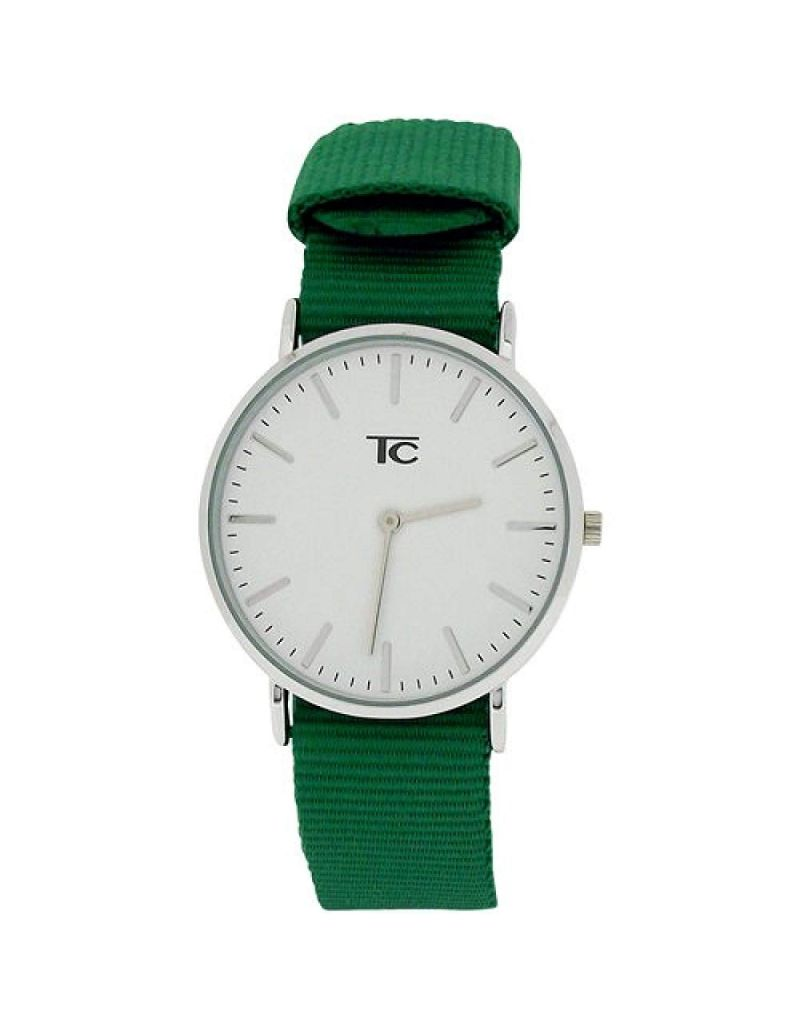 Tom Carter Unisex White Dial Stainless Steel Case Bottle Green Nylon Strap Watch