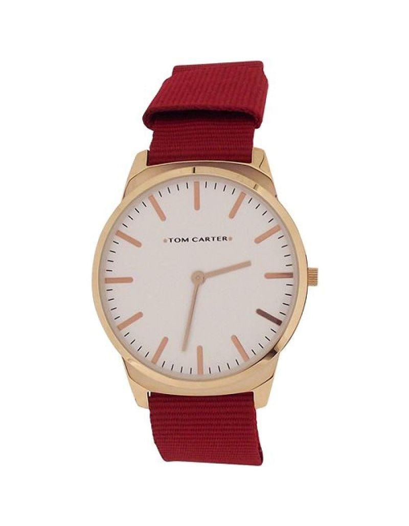 Tom Carter Gents White Dial Rosetone Stainless Steel Red Nylon Strap Watch