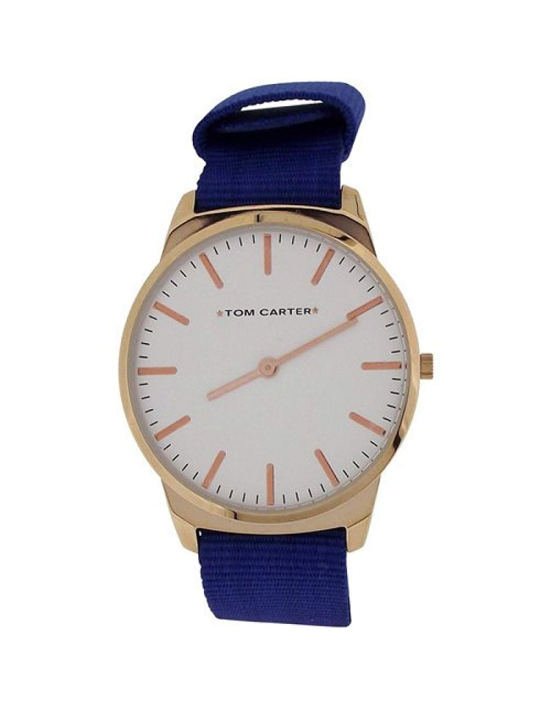 Tom Carter Gents White Dial Rosetone Stainless Steel Dark Blue Nylon Strap Watch