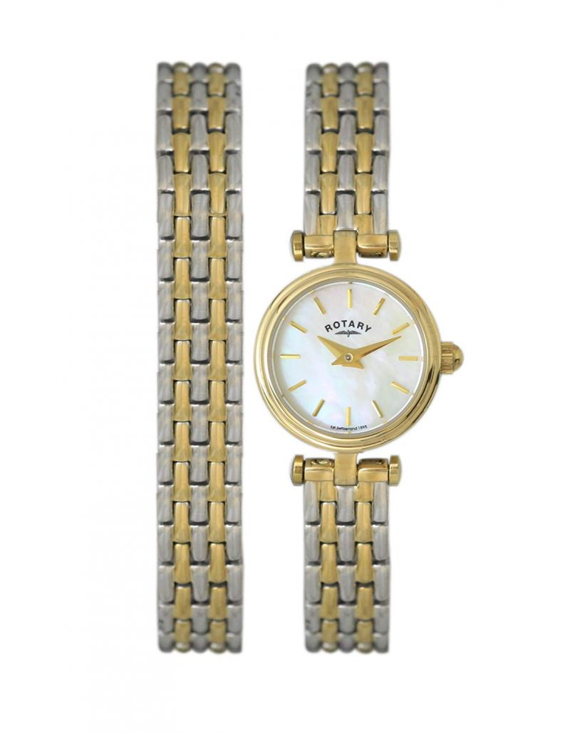 Rotary Ladies Mother of Pearl Dial Stainless Steel Watch & Matching Bracelet