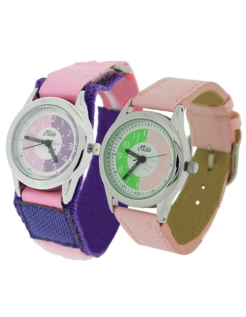 2 X Relda Time Teacher Pink Easy Fasten & Buckle Kid Girl Watch Gift Set + Award