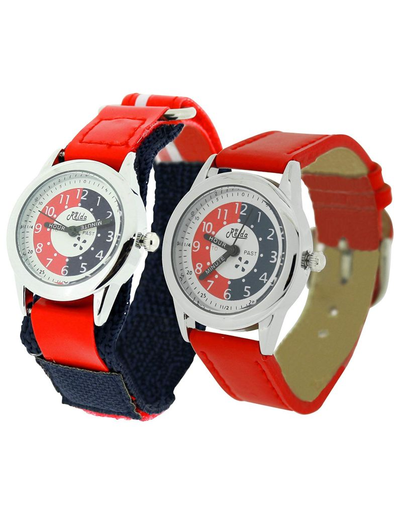 2 X Relda Time Teacher Red Easy Fasten & Buckle Kid Boy Watch Gift Set + Award