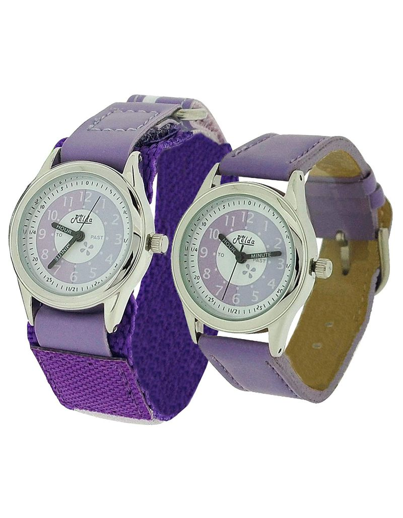 2 X Relda Time Teacher Lilac Easy Fasten& Buckle Kid Girl Watch Gift Set + Award
