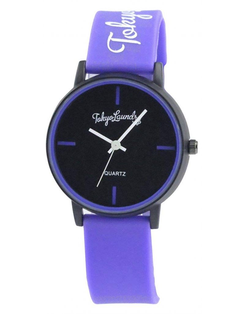 Tokyo Laundry Womens Black Dial Purple Silicone Strap Watch TKL14E