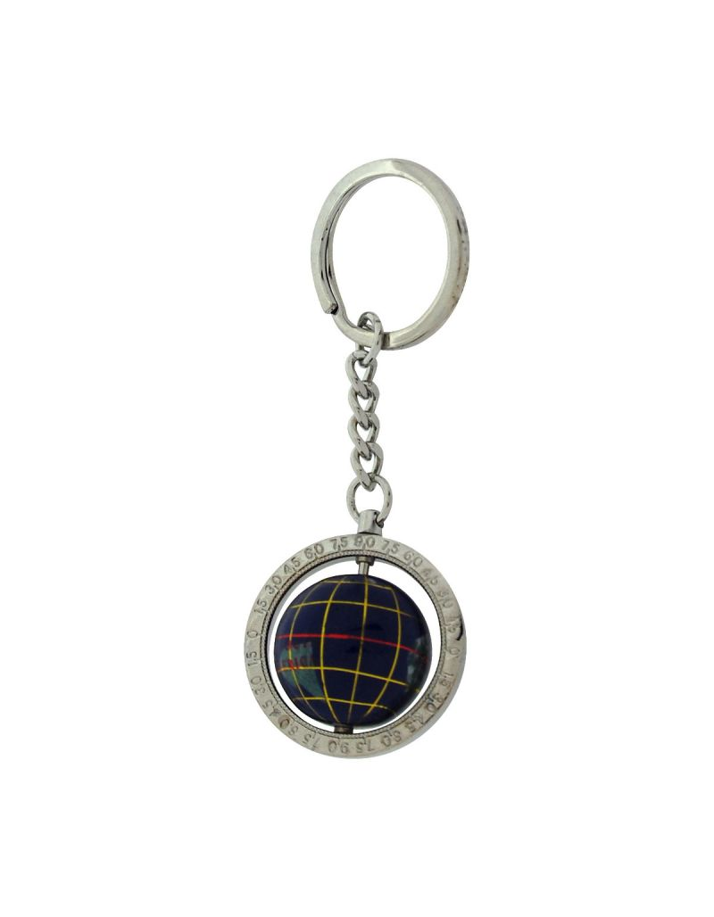 Relda Silvertone Base Metal Blue World Globe Keyring In presentaion Box WM02